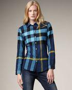 Burberry Brit Check Flannel Shirt, Petrol Blue - Lyst