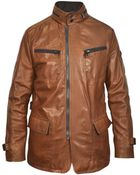 Forzieri Brown Leather Zippered Jacket - Lyst