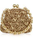 Forzieri Woven Straw & Leather Clutch Bag W/Chain Strap - Lyst