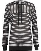 T By Alexander Wang Sheer Stripe Hooded Top - Lyst