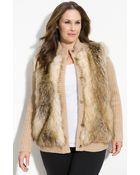 MICHAEL Michael Kors Faux Fur Front Cardigan (plus) - Lyst