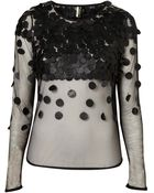 Topshop Leather Disc Blouse - Lyst