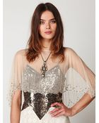 Free People Image Of Me Mesh Sequin Capelet - Lyst