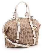 Michael Kors Medium Bedford Satchel Monogram, Beige/vanilla Monogram - Lyst