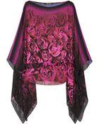 Roberto Cavalli Rose-print Silk-chiffon Top - Lyst