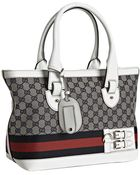 Gucci Navy Canvas and Leather Heritage Web Stripe Tote - Lyst