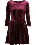 Topshop Spot Velvet Flippy Dress - Lyst