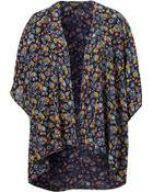 Topshop Mini Peacock Print Kimono - Lyst