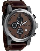 Nixon The Ride Leather Strap Watch - Lyst
