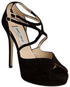 Jimmy Choo  Suede Fairview Peep Toe Platform Sandals - Lyst