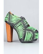Jeffrey Campbell The Lita Laced Shoe in Black with Neon Green Laces - Lyst