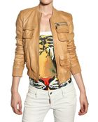 DSquared2 Bomber Style Nappa Leather Jacket - Lyst