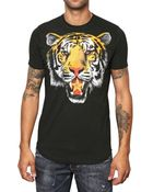 DSquared² Tiger Printed Cotton Jersey T-shirt - Lyst