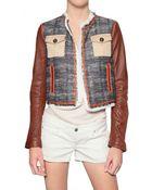 DSquared² Leather Sleeve Boucle Jacket - Lyst