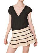 Jay Ahr Silk Georgette & Nappa Leather Dress - Lyst