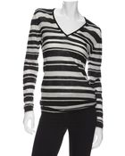 Enza Costa Exclusive V Neck Striped Cashmere Sweater - Lyst
