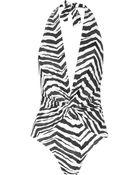 Emilio Pucci Zebraprint Plungefront Halterneck Swimsuit - Lyst