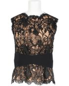 Emilio Pucci Viscose And Polyamide Black Lace Top With Nude Silk And Elastane Lining - Lyst