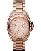 Michael Kors Minisize Blair Multifunction Glitz Watch Rose Golden - Lyst