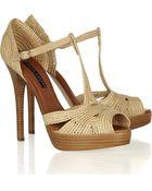 Ralph Lauren Collection Jedina Raffia and Leather Sandals - Lyst