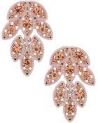 Topshop Leaf Rhinestone Drop Earrings - Lyst