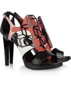 Pierre Hardy Elaphe Snakeskin and Leather Sandals - Lyst