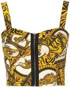 Topshop Scarf Print Zip Bralet - Lyst