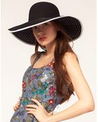 ASOS Collection Asos Straw Floppy Hat with Polka Dot Underbrim - Lyst