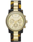 Michael Kors Chronograph Gold Tone Stainless Steel and Tortoise Acetate Bracelet 40mm - Lyst