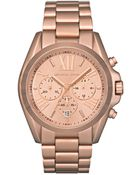 Michael Kors Women'S Chronograph Bradshaw Rose Gold-Tone Stainless Steel Bracelet Watch 43Mm Mk5503 - Lyst