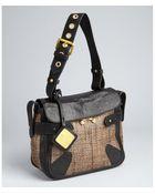 Mark + James by Badgley Mischka Black Straw Cyndie Leather Trimmed Shoulder Bag - Lyst