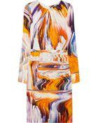 Vera Wang Printed Stretch Silkblend Dress - Lyst