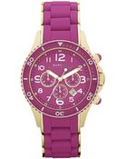 Marc By Marc Jacobs Womens Chronograph Amethyst Silicone Wrapped Gold Ion Plated Stainless Steel Bracelet 40mm - Lyst
