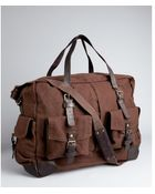 John Varvatos Brown Canvas and Leather Large Duffle Bag - Lyst