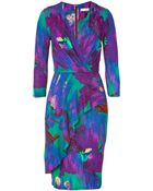 Matthew Williamson Jade and Amethyst Printed Frill Day Dress - Lyst