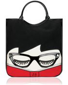 Lulu Guinness Librarian Doll Face Large Wanda Tote - Lyst