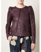 Vanessa Bruno Collarless Leather Jacket - Lyst