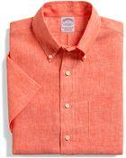 Brooks Brothers Regular Fit Irish Linen Short Sleeve Sport Shirt - Lyst
