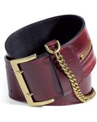 McQ by Alexander McQueen Oxblood Wide Leather Belt with Chain - Lyst
