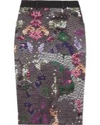 Preen Line Penelope Sequin-print Stretch Cotton-drill Pencil Skirt - Lyst