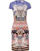 Mary Katrantzou Peony Porcelain Horse Print Silk Dress - Lyst