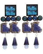 Holly Fulton Square Baroque Crystal Clip On Earrings  - Lyst