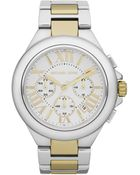Michael Kors Midsize Silver Color Golden Stainless Steel Camille Chronograph Watch - Lyst