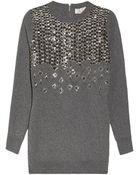 Lela Rose Embellished Wool Sweater - Lyst