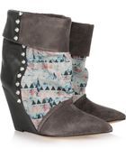 Isabel Marant Kate Suede Leather and Corduroy Wedge Boots - Lyst