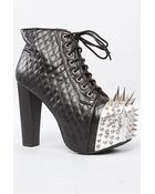 Jeffrey Campbell The Lita Crown Shoe in Black Quilt and Silver Spikes - Lyst