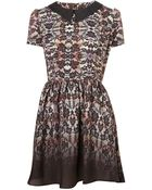 Topshop Check Lace Flippy Dress - Lyst
