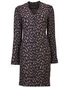 Yigal Azrouël Leopard Jacquard Vneck Dress - Lyst