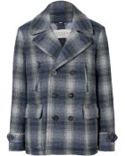 Burberry Brit Navy Wool Doublebreasted Checked Paragon Pea Coat - Lyst