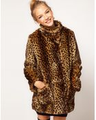 ASOS Collection Asos Longline Animal Fur Coat - Lyst